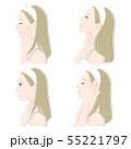 女性の横顔の表情イラスト 55221797