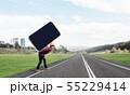 Builder man carry huge smartphone 55229414
