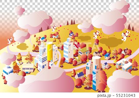 秋の背景、色づく街並み 55231043