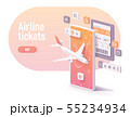 Vector booking airline tickets app concept 55234934
