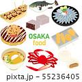 イラスト素材:大阪 名産品 グルメ アイコンセット 55236405