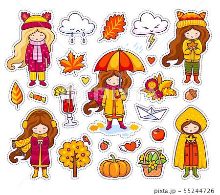 Set of cute autumn girls. 55244726