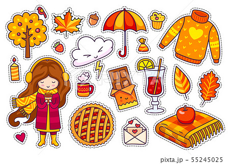 Set of cute autumn stickers. 55245025
