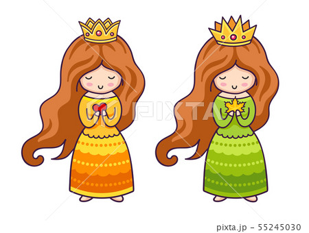 Cute princesses with heart and autumn maple leaf. 55245030