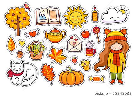 Set of cute hand drawn autumn elements. 55245032