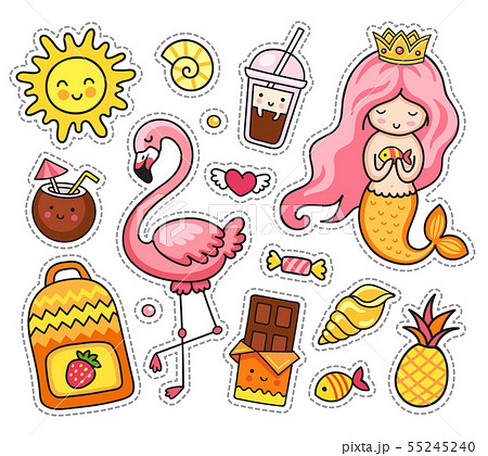 Set of cartoon patches, badge, pins. 55245240