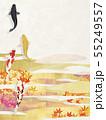 和風-背景素材-和紙の風合い-紅葉-雲-金箔-錦鯉 55249557