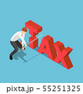 Isometric businessman cutting tax word by japanese 55251325