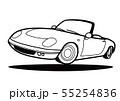 ブリテッシュオープンスポーツ  塗り絵風 ジャンプ  自動車イラスト 55254836