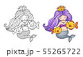 Queen mermaid with beautiful hair with two fish. 55265722