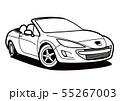 フレンチオープンカー  塗り絵風 自動車イラスト 55267003