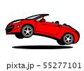 フレンチオープンカー  赤色系 ジャンプ 自動車イラスト 55277101