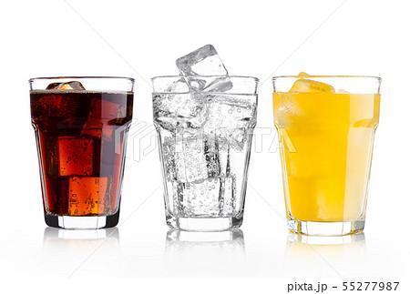 Glasses of cola and orange soda drink and lemonade 55277987