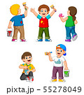 Collection of happy Kids with paint brush 55278049
