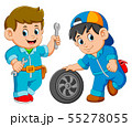wo car service man wearing uniform with car wheel 55278055