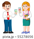 Business man and Business woman with drinks 55278056