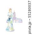 水色のドレスと教会 55280037
