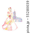 ピンクのドレスと教会 55280039
