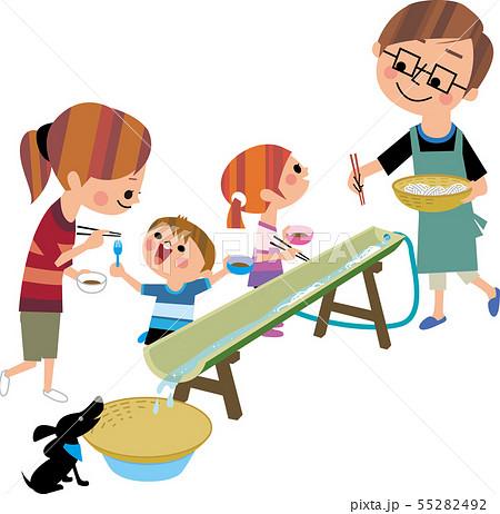 家族で素麺流し 55282492