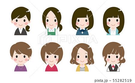 色々な女性の顔アイコン 55282519