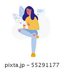 Woman Texting Online Flat Vector Illustration 55291177