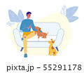 Young Man with Puppies Flat Vector Illustration 55291178