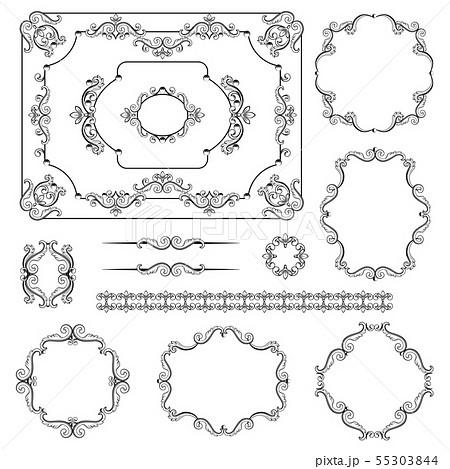Mega set collections of vintage design elements. 55303844