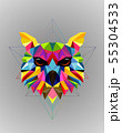 Colorful owl bird low poly design 55304533