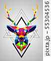 Colorful deer low poly design 55304536