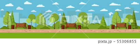 Vector flat design illustration Summer city park day background in cartoon style. 55306855