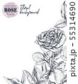 Vector template for greeting card or invitation with hand drawn rose flowers 55314690