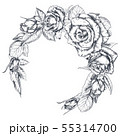 Hand drawn rose flowers wreath isolated on white background. 55314700
