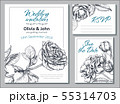 Collection of vector templates for wedding cards and invitation with hand drawn rose flowers. 55314703