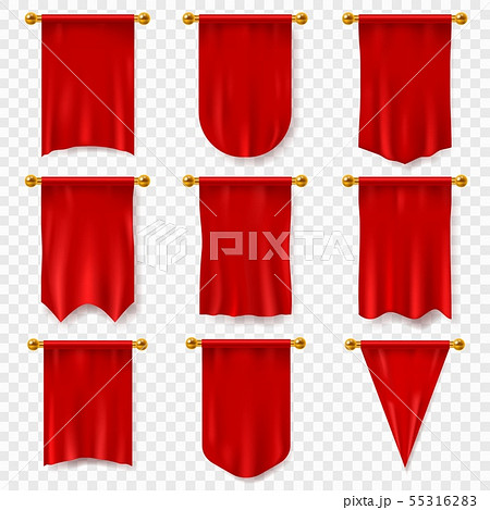 Red pennant. 3d realistic textile flag, heraldic blank pennant. Award advertising empty banners 55316283