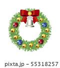 クリスマスリース3(赤リボン) 55318257