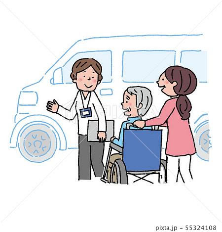 介護 高齢者 車椅子 ケアマネージャー イラスト  55324108