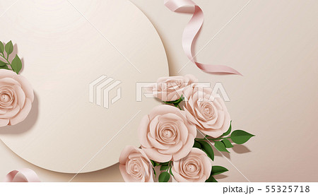 Paper rose with round background 55325718