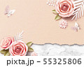 Paper roses on marble stone 55325806