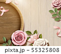 Paper flowers with wood plate 55325808