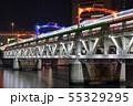 羽子板市をイメージした特別ライティングの隅田川橋梁と東武スカイツリーラインの光跡 55329295