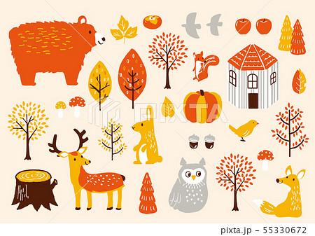 秋セット 秋の動物たち 55330672