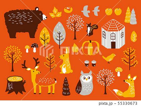 秋セット 秋の動物たち 55330673