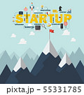 Red flag on a Mountain peak startup success 55331785