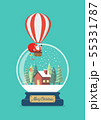 Merry christmas glass ball with Santa in balloon 55331787
