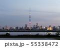 アメリカ合衆国の国旗をイメージした特別ライティングが点灯する東京スカイツリーと東京のスカイライン 55338472
