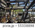 火事で焼けた柱と梁とタンス 55338898