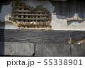 火事で焼けた壁と梁のアップ 55338901