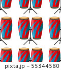 Seamless pattern tile cartoon with bongo drums 55344580