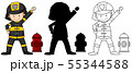 A set of characters in color, silhouette and 55344588