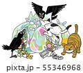 ゴミをあさる猫とカラス 55346968